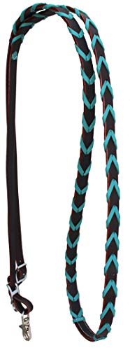 PRORIDER Horse Roping Tack Western Barrel Harness Leather Reins Brown Turquoise 607316