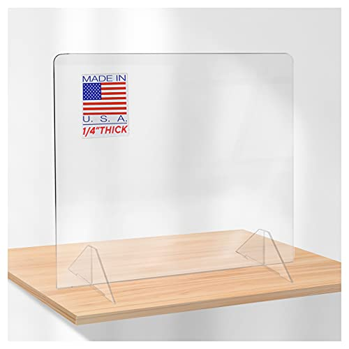SPEEDYORDERS Protective Sneeze Guard, 60'W x 24'H No Opening Clear Acrylic Plexiglass Shield For Counters, Barrier Against Sneezing For Employers, Customers, Sneezeguard