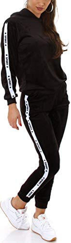 Jela London Damen Jogginganzug Nicki Velours Hausanzug Kapuzen-Pullover, Nicki Velour Sport-Streifen, Schwarz 38-40 (L/XL)