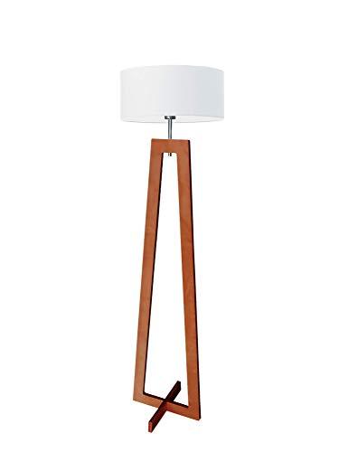 Lámpara de pie Bali de madera, pantalla de color blanco, marco de caoba