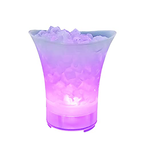 TBBA 5L Cubitera con Altavoz Bluetooth, Colorido LED Luz Hielo Cubo de Champán con LED Cambiar Automatica Los Colores para Champagne Vino Bebidas Cerveza Hielo Enfriador Bar Club Pub