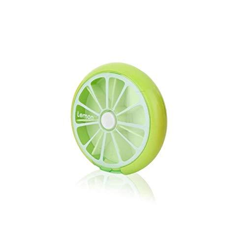 BIYI Portátil de Forma Redonda Pastillero de Medicina pequeño Portátil 7 días Soporte de Medicina de Viaje semanal Estuche de Almacenamiento de tabletas Contenedor (Verde)