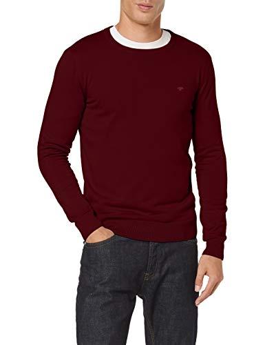 TOM TAILOR Herren Basic Crew-neck Pullover, 24250 - Wine Red Melange, M EU