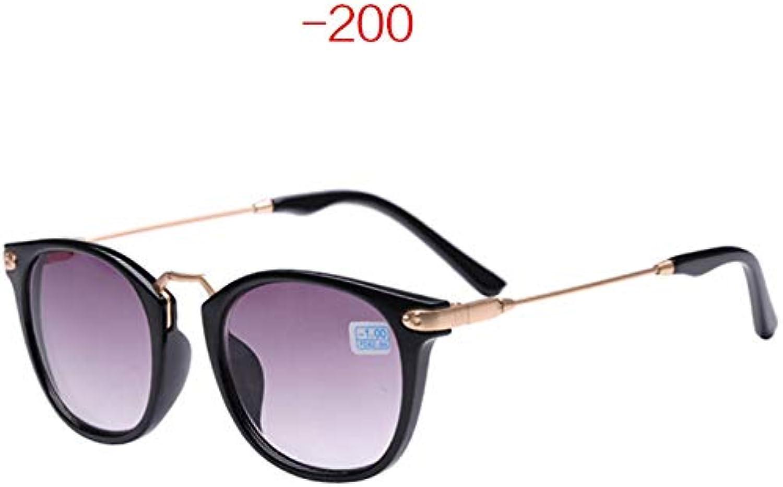 FBNSJA Fertige Myopie Sonnenbrille Frauen Mnner Runde Metall Sonnenbrille Kurzsichtige Brille