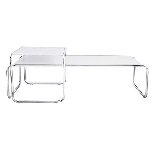 2er Set Modern Wohnzimmertisch Beistelltisch Kaffeetisch Satztisch Sofatisch Tisch-Set 2-teilig Metall 49 * 132cm, Weiß