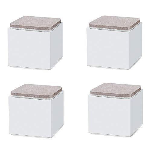 4 ×El Elevador de Muebles de Acero al Carbono, Cuadrada 52 mm Autoadhesivo sofá Mesa de Centro colchón Que Aumenta la Almohadilla Puede soportar 500 KG (Blanco/Negro/marrón)