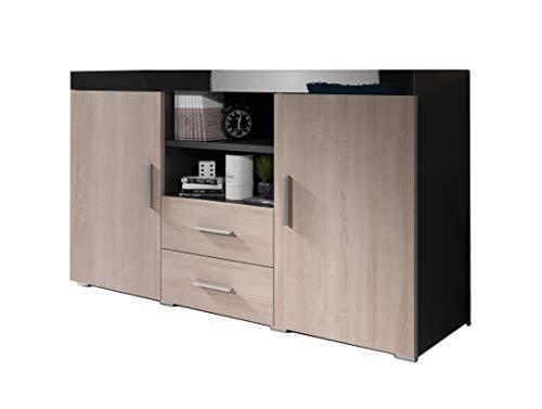 Muebles Bonitos | Aparador Moderno Roque | Ancho 140cm x Alto 80 cm x Profundo 40 cm | Mueble de Melamina en Brillo | Color Negro y Sonoma