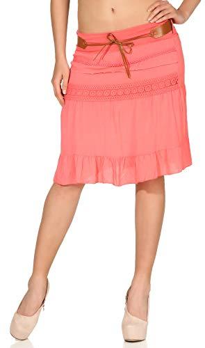 malito dames rok met riem | klok jurk met borduurwerk | Zomerrok in effen kleuren | Minirok - Rok 8220