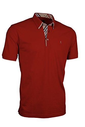 Giorgio Capone Premium-Poloshirt, einzigartiger Hemdkragen, rot, Pique-Stoff 100% Baumwolle, Regular Fit (M)