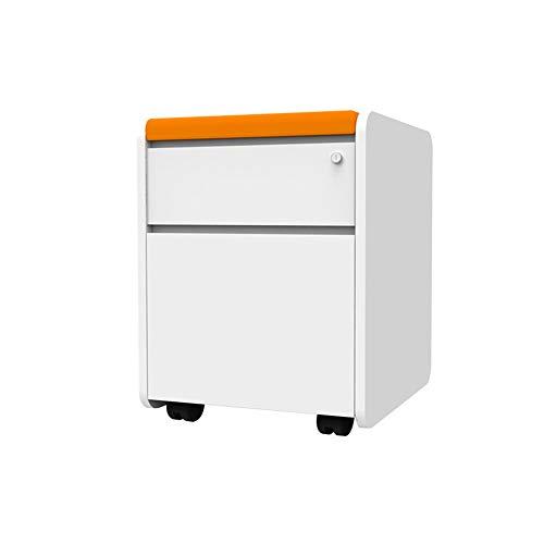 N / E Rollcontainer, Mobiler Aktenschrank mit 2 Schubladen, Abschließbar, für Bürodokumente, 48x40.2x56cm, Weiß