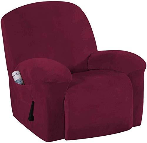 qazwsx Fundas elásticas para sillón reclinable, 1 Pieza, Funda de Terciopelo de Felpa para sofá, Protector Suave y Lavable para Muebles, Bolsillo Lateral Inferior elástico para Mascotas, niños, Roj