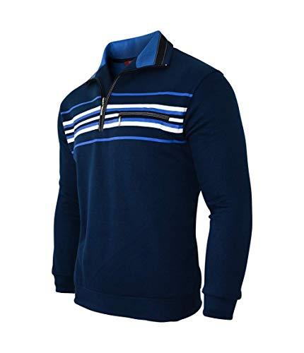 Humy Herren Langarm Gestreifte Sweatshirt, Poloshirt, Polohemd aus Baumwoll-Mix (M bis 3XL) (XL, Navy Blau)