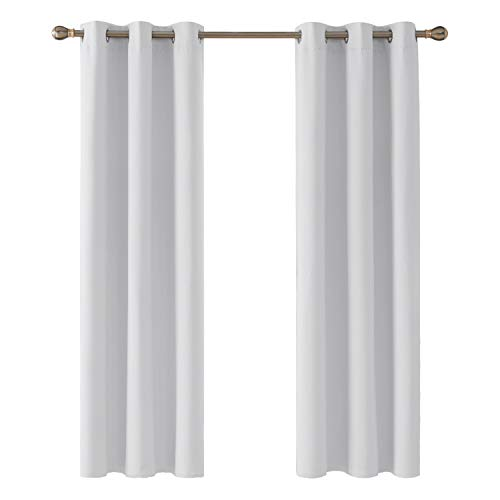 Deconovo Cortinas Salon Modernas Aislantes Térmicas Funcional Estilo Elegante con Ollados 2 Piezas 107 x 213 cm Gris Blanco