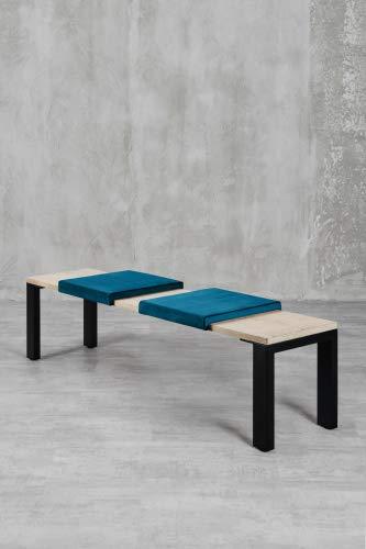Klemm-Kissen Sense - 2er Set - 44x6x44 cm - weiches Sitz-Kissen, Samtkissen für Sitzbanktiefe 40 cm - Farbe: Petrol