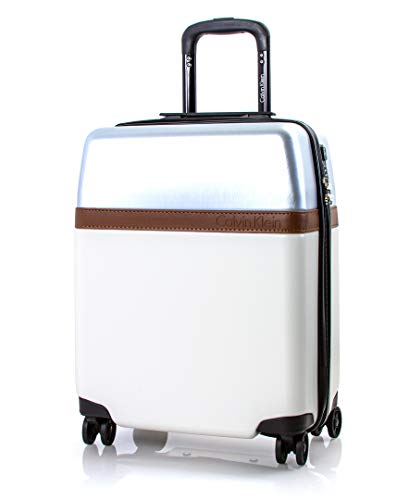 Calvin Klein Clarkson Square Hardside Spinner Luggage with TSA Lock, White/Silver, 20 Inch