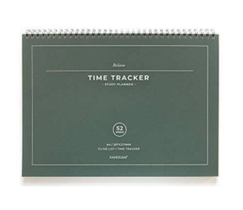 PAPERIAN Believe Time Tracker – Agenda de estudios sin fechas, tamaño A4, con espiral, sin fecha, lista de tareas, planificador (verde pino)