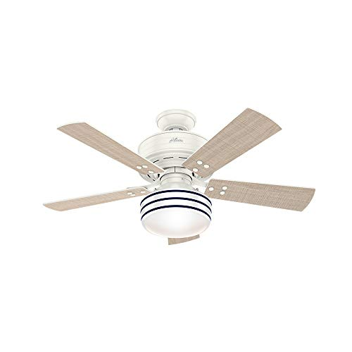 Hunter Indoor / Outdoor Ceiling Fan with LED Light and remote control - Cedar Key 44 inch, White, 54148