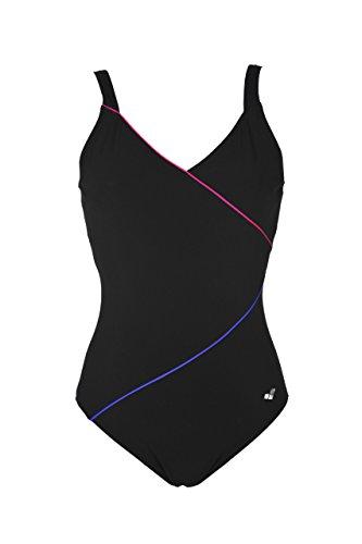 Arena Damen Bodylift Badeanzug Tiffany C-Cup Badeanzug, Schwarz (Black-Rose Violet-Bright Blue (509)), 42 (Herstellergröße: 48)