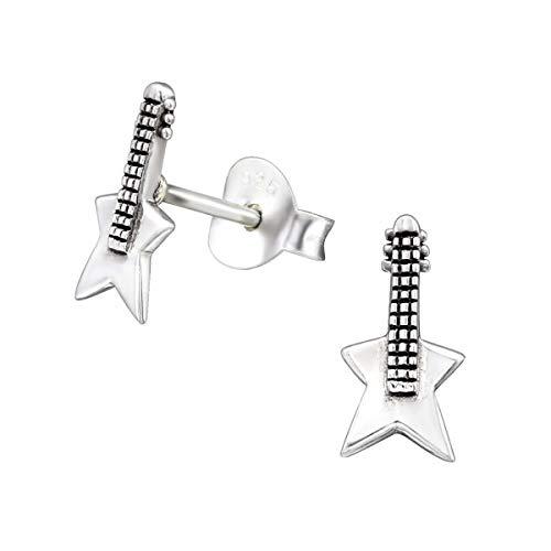 Kinder Ohrstecker Ohrschmuck Gitarre 925er Silber Ohrringe Geschenkidee