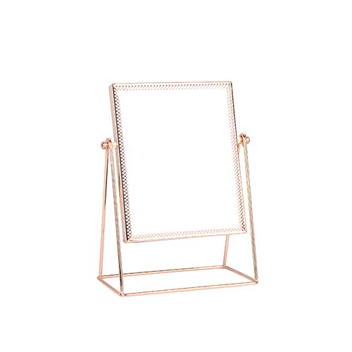 YSY Miroir de Table Nordique Miroir de Beauté Princesse Miroir Rétro Carré Miroir Rotation 360 ° pour Coiffeuse de Salle de Bain,A