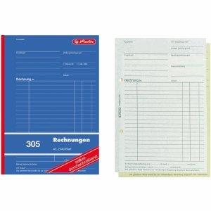 Herlitz 10 x Formularbuch Rechnung A5 305 2x40 Blatt selbstdurchschreibend