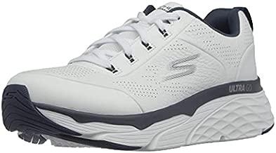 Skechers Men's Max Cushioning Elite Lucid-Athletic Leather Cross-Training Tennis Shoe Sneaker, White/Navy, 10.5