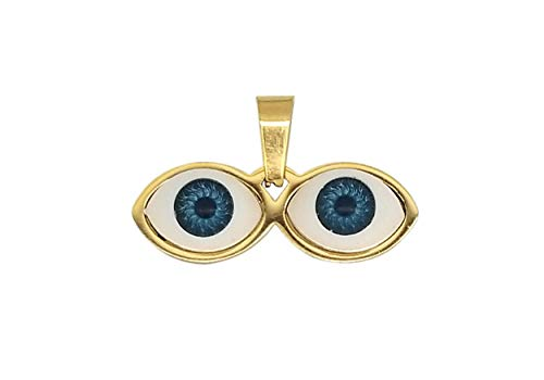 14kt Eyes Saint Lucky Charm Gold Stainless Steel - Ojitos De Santa Lucia Para Proteccion Dorado