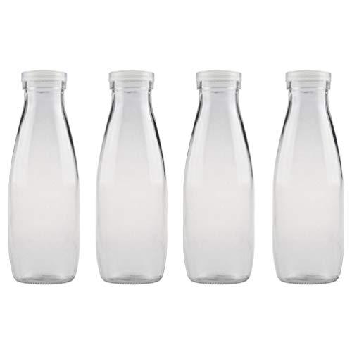 Hemoton Juego de Botellas de Vidrio de 4 Piezas Botella de Leche de Vidrio con Tapas Botellas Transparentes de Yogur Botellas de Bebida Bebidas para Fiestas Bodas Pícnic de Barbacoa 500ML