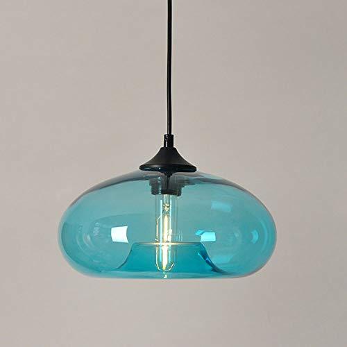 Lámpara colgante con pantalla de vidrio Vintage E27 Lámpara colgante Mesa de comedor/Comedor Altura ajustable Azul Retro Lámparas de techo Dormitorio Bar Mostrador de la cocina Café