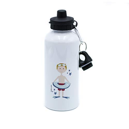 SUSIKO   Botella Aluminio con 2 Tapones   Niño Natación   Medidas 21 x 7,3 cm   Capacidad 600 ml   Peso 160 gr   Packaging en Caja Blanca   Color Blanco Brillante