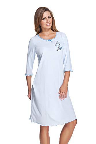 e.FEMME® Damen Nachthemd 275 mit 3/4 Ärmeln aus Baumwolle und Modal, Blau, Gr.38