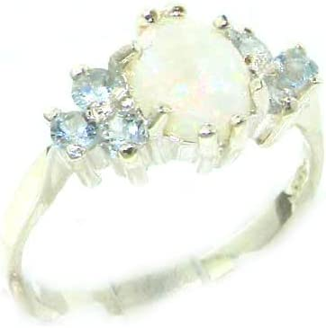 925 Sterling Silver Real Genuine Opal and Aquamarine Max 56% OFF Womens Band Elegant