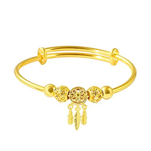SanSiXing Pulsera de Oro de Arena, Pulsera de ensueño Catcher, Pulsera de Moda de Plumas para jóvenes Anillo de Bobina en Forma de Diamante joyería chapada en Oro