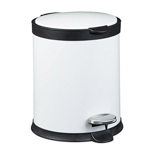 Relaxdays Treteimer 5 L aus Metall H x D: 27,5 x 23 cm Abfalleimer in Edelstahl-Optik als Abfallbehälter mit Absenkautomatik Tretmülleimer für Küche und als Kosmetikeimer im Bad Tretmülleimer, weiß