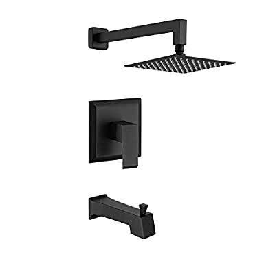 "HOMELODY Shower Faucet Shower Valve Trim Kit Tub and Shower Faucet Set Rainfall Shower System with 8"" Touch-Clean Shower Head, Bathtub Faucet, Stainless Steel, Matte Black"