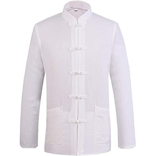 JKGHK Vêtements d'arts Martiaux Costume Tang Chinois pour Les Hommes Kung Fu Vêtements Hauts Art Martial Chemise en Coton,Blanc,L