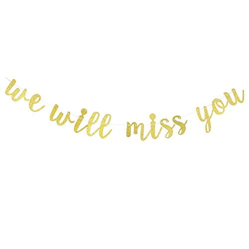 Gold Glitter We Will Miss You Banner - Perfect for Your Retirement Party Decoration/Going Away Party/Farewell Party/Office Work Party/Relocation Moving Party Decorations