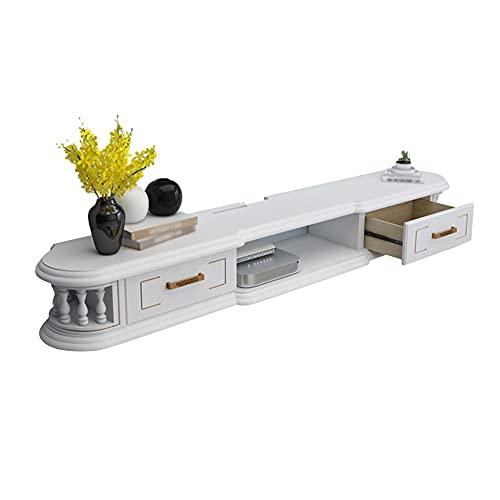 Mueble De TV Flotante, Consola De Tv De Madera Unidad De Entretenimiento Con GestióN De Cables, Para Sala De Estar Oficina Almacenamiento De Juegos/White / 120cm