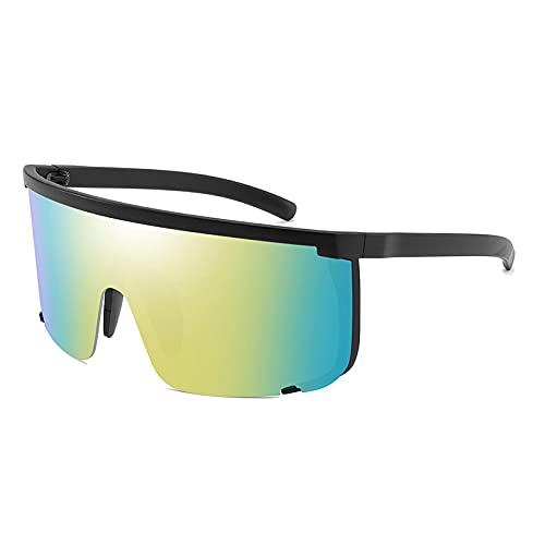 Gafas De Sol Gafas De Sol Sin Montura De Gran Tamaño para Hombre, Mujer, Lente De Una Pieza, Montura Grande, Gafas De Sol para Mujer, Gafas Uv400, Negro-Azul, Amarillo