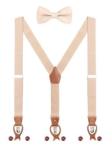 Herren Hosenträger Fliege Set 2 WAY TO WEAR 6 Leder Knopfloch 3 Clips Y-Form 3,5cm Breit Verlängerte Hosenträger für Körpergröße 160-200cm - Beige