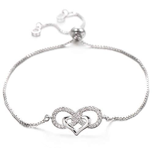 Jewellery Bracelets Bangle For Womens Love Heart Infinity Bracelet For Lovers Women Lady Copper Adjustable Chain Zircon Bracelets Wedding Bride Jewelry Silver