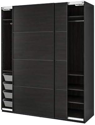 Vishvakarma Furniture 7 feet by 7 feet Wardrobe, Sliding Doors. (Black)