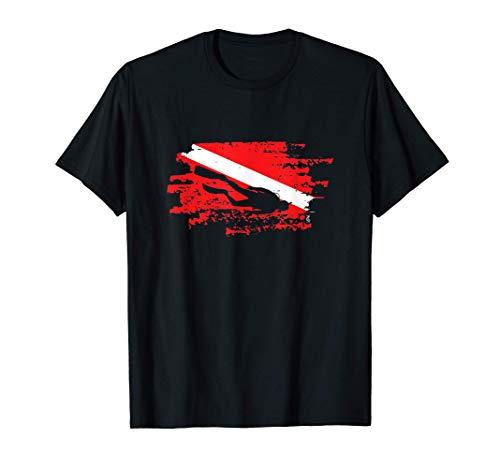 Buceador de buceo con bandera abajo regalo de buceo marino Camiseta