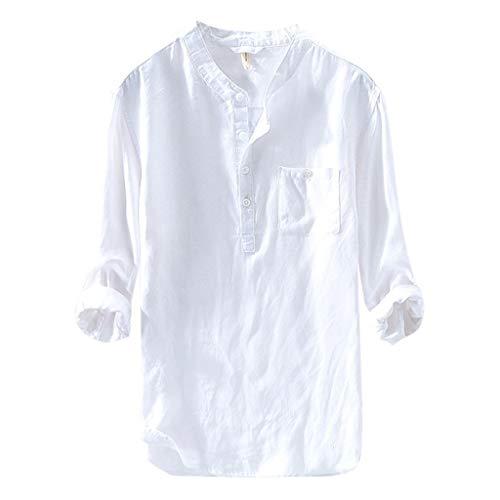 Chemise Lin Homme Manches Courtes Blanche Slim Fit T-Shirt à Manches Courtes Tops Blouse Chemises Homme Col Mao sans Repassage Été Noir Casual Casual Chemiser Tee Blouse Tshirt de Plage Loisir KUKICAT