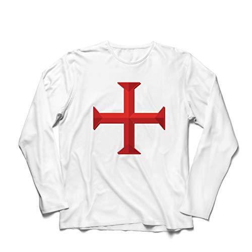 lepni.me Herren T Shirts Die Tempelritter Rotes Kreuz Arme Mitmenschen-Soldaten Christi (XX-Large Weiß Mehrfarben)