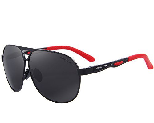 MERRY'S Men Classic Brand HD polarized Sunglasses Aluminum Driving Sun glasses S8611 (Black, 62)