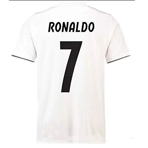 HBSC Mannschaftsvereine Fußballuniform Real Madrid Fußballuniform C Ronaldo 18-19 Fitnessanzug Herrenlaufanzug mit kurzen Ärmeln Schnell trocknend White-M