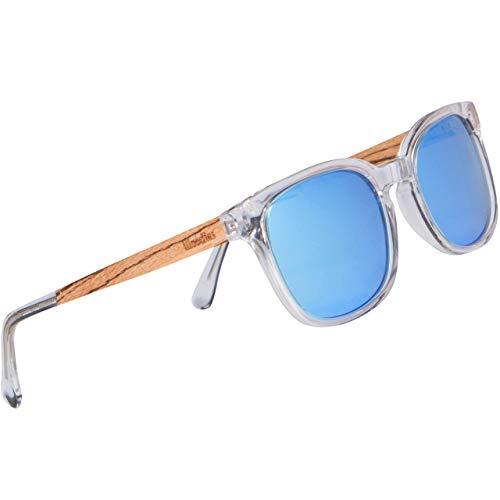 WOODIES Polarisierte klare Acetat-Holz-Sonnenbrille in Holzdisplay für Damen und Herren | blaue polarisierte Gläser und echter Holzrahmen | 100% UVA-/UVB-Strahlenschutz