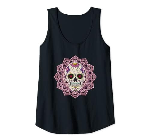 Mujer Mandala Corazón Ojos Azúcar Calavera Flores Día de los Muertos Camiseta sin Mangas