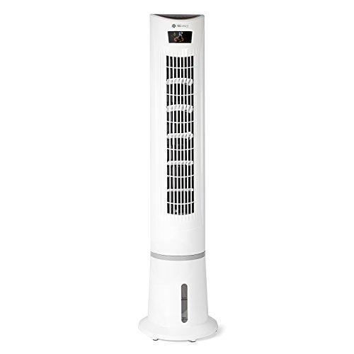 TECVANCE Air Cooler - Ventilator mit Wasserkühlung, Fernbedienung, Timer (9 Stunden) & 3 Stufen, Turmventilator mit Ionen Luft Filter, Säulenventilator mit Eiswürfel-Fach, 80° oszillierend (drehend)